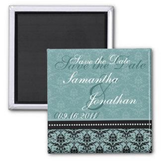 Save the Date Turquoise Elegant Damask Magnet