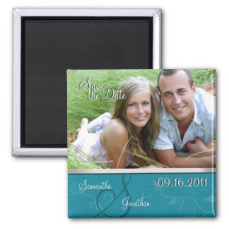 Save the Date Turquoise & Silver Monogram Magnet