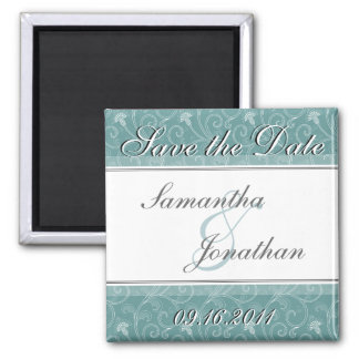 Save the Date Turquoise Victorian Floral Magnet