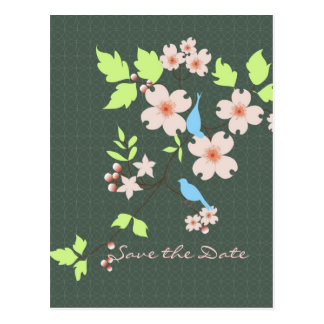Save the Date two blue birds on dogwood branch Postcard