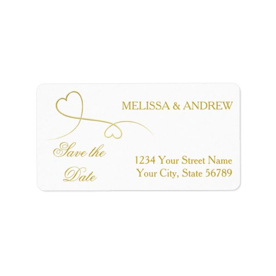 Save the Date | Two Elegant Gold Hearts Wedding Label
