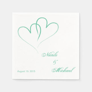 Save The Date - Two hearts intertwined Mint Paper Napkin