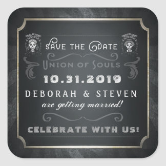 Save the Date Union of Souls Halloween Square Square Sticker