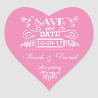 Save the Date Vintage Heart Pink Heart Sticker