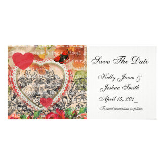 Save the Date Vintage Love Birds Photo Card Template