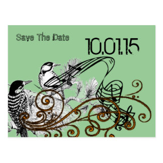 Save the Date- Vintage Love Birds Postcard
