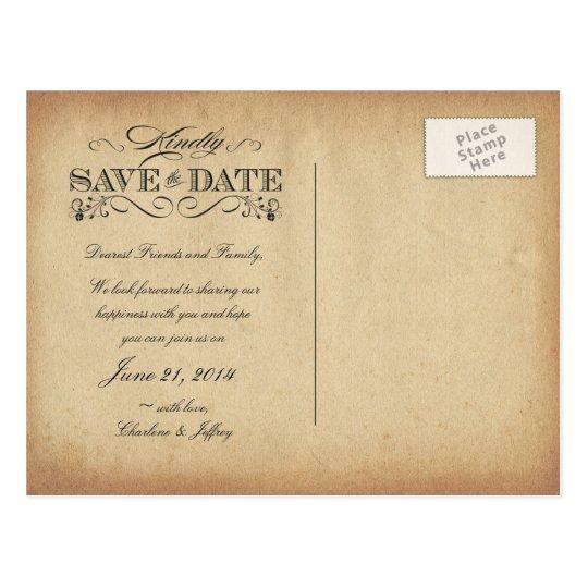 Save the Date Vintage Parchment Postcard