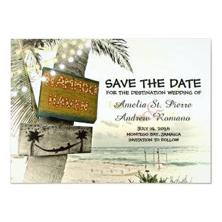 Save the Date Vintage Romantic Beach Destination Card