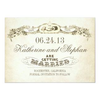 "save the date vintage typography design 4.5"" x 6.25"" invitation card"