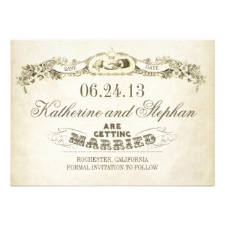 save the date vintage typography design custom invite