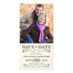 Save the Date Vintage White Wedding Photocards Custom Photo Card
