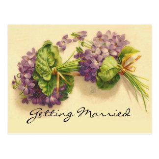 Save the Date Violet Bouquets Postcards