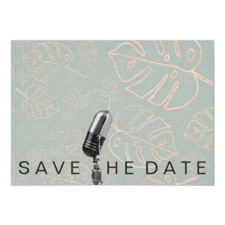 Save The Date Vivid Pink Glitter Microfone Card