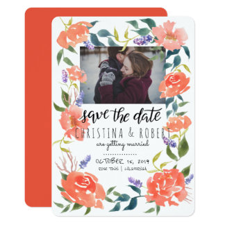 Save The Date Watercolor Floral Red | Couple Photo Card