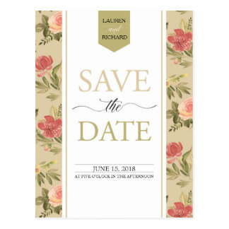 Save The Date Watercolor Flower Bouquet Roses Postcard