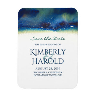 Save the Date Watercolor Teal and Gold Confetti Magnet