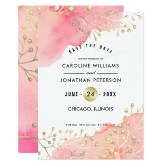 Save the Date. Watercolor Wedding Announcement