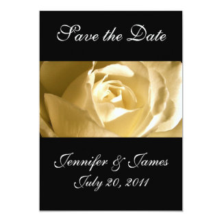 "Save the Date Wedding Announcement Cream Rose 5"" X 7"" Invitation Card"