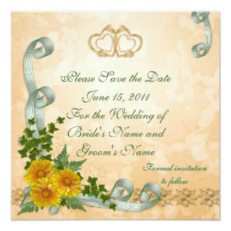 Save the date Wedding announcement yellow flowers
