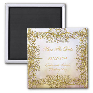 SAVE THE DATE Wedding Beige Gold Square Magnet