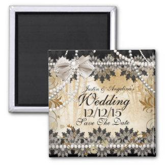 Save The Date Wedding Black Cream Beige Square Magnet