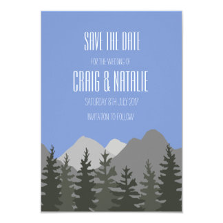 Save the Date Wedding Card Trees and Mountains