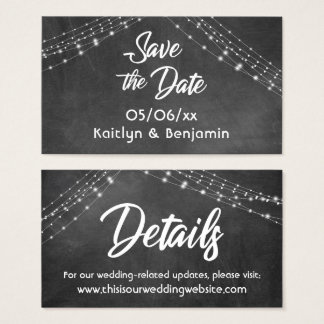 Save the Date Wedding Details Lights on Chalkboard Business Card