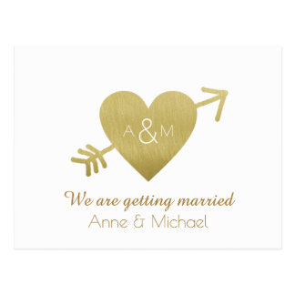 save-the-date wedding faux gold heart monogram postcard