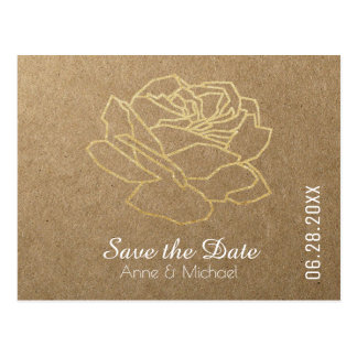 save-the-date wedding flower rose on faux kraft postcard