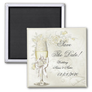Save The Date Wedding Gold Cream Pearl Floral Rose Fridge Magnet