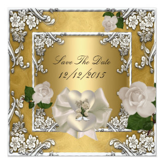 "Save The Date Wedding Gold Cream Rose Silver 5.25"" Square Invitation Card"