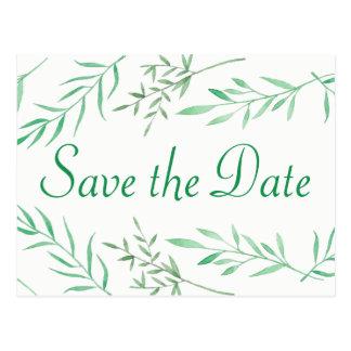 Save the Date Wedding Green Laurel Leaf Engagement Postcard