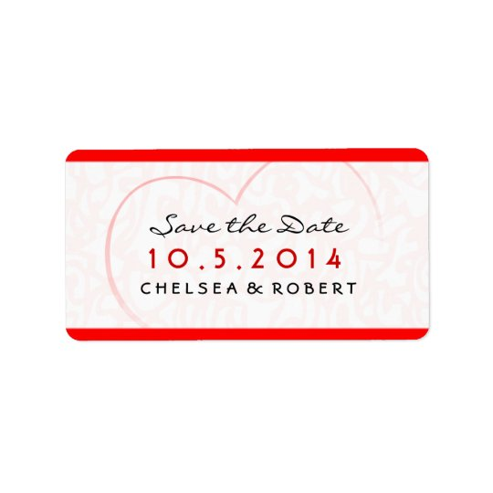Save the Date - Wedding Label - Red & Pink-  Heart