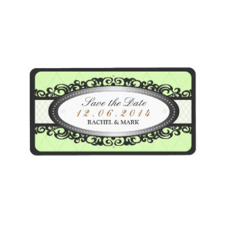 Save the Date - Wedding Label Vintage - Mint Green