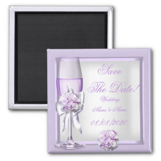 Save The Date Wedding Lavender Purple Lilac 3 Magnet