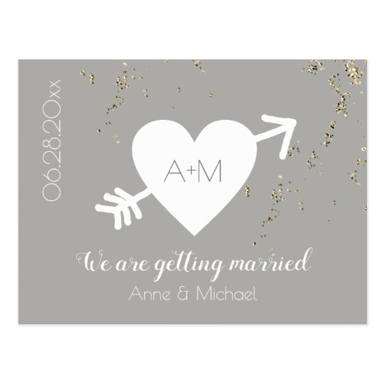 SAVE THE DATE wedding love heart confetti grey Postcard