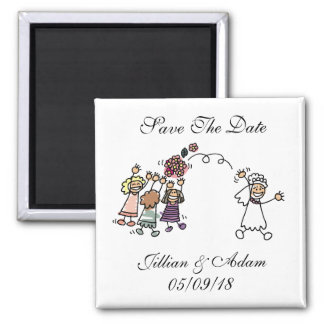 Save The Date Wedding Magnet Bride Throws Bouquet