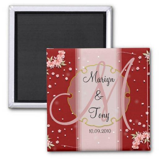 Save the date wedding magnet (monogram design)
