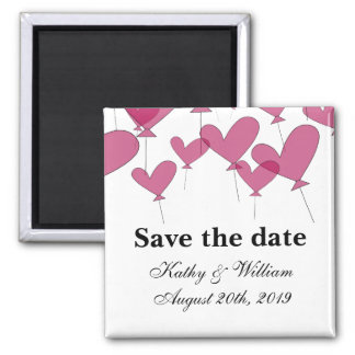 Save the date wedding magnet    red heart balloons