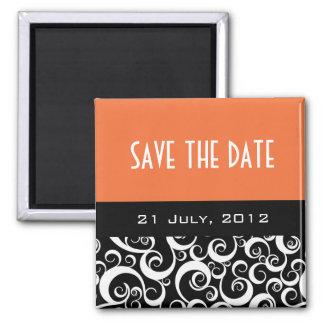 Save The Date Wedding Magnets in Orange Swirls