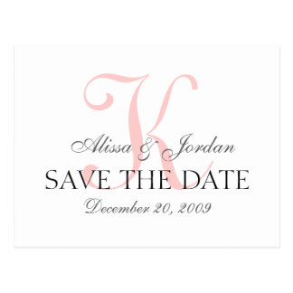 Save the Date Wedding Monogram Announcement Card Postcard