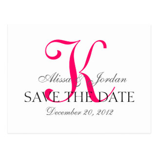 Save the Date Wedding Monogram Announcement Pink Postcard