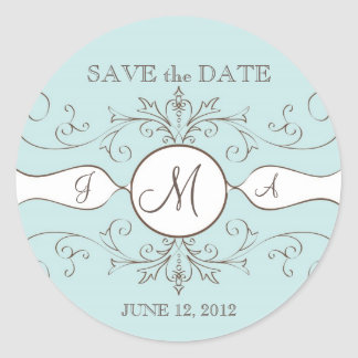 Save the Date Wedding Monogram Sickers Stickers