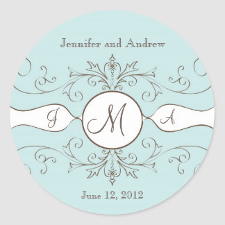 Save the Date Wedding Monogram Stickers Brown Blue