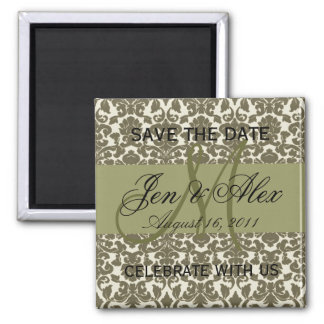 Save the Date Wedding Monogram Taupe Magnet
