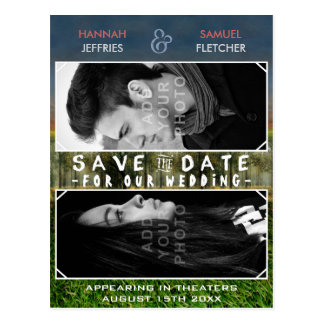 Save the Date Wedding Photo Movie Poster Theme Postcard