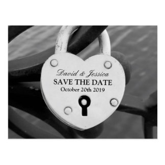 Save the date wedding postcard | Heart love lock