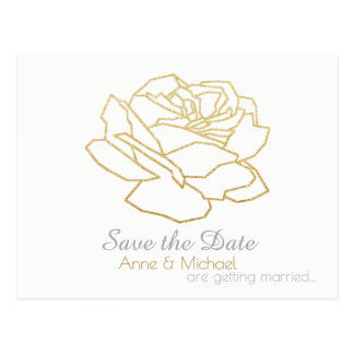 save-the-date wedding postcard with rose flower