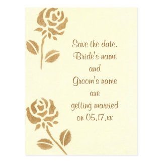 Save the date wedding postcards, gold roses postcard