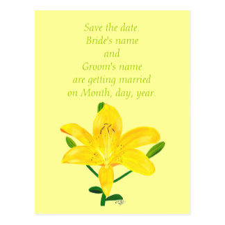 Save the date wedding postcards, yellow lilly postcard